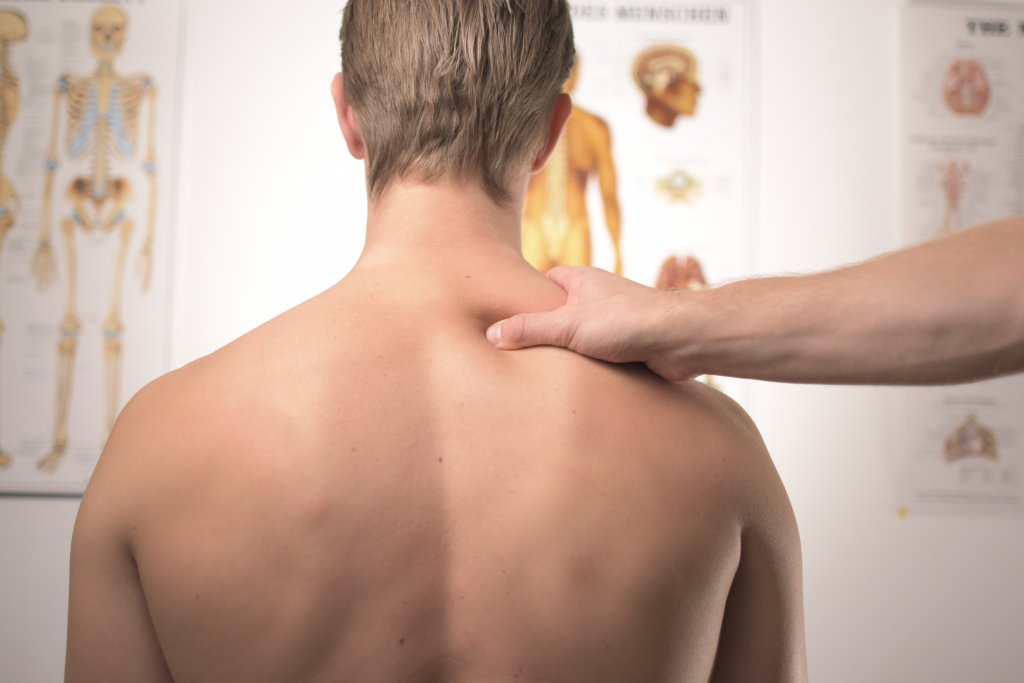Neck massage physiotherapy.