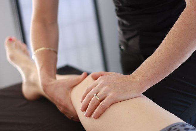 Leg massage physiotherapy.